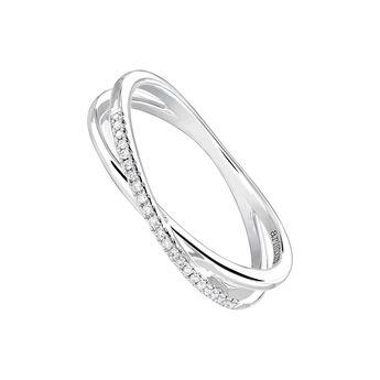 Anillo cruz liso y pavé diamantes oro blanco 0,05 ct, J03936-01-05, hi-res