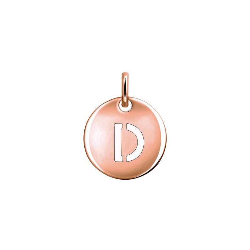 Colgante medalla inicial D plata recubierta oro rosa, J03455-03-D, hi-res