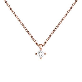 Rose gold topaz rhombus necklace, J03694-03-WT, hi-res