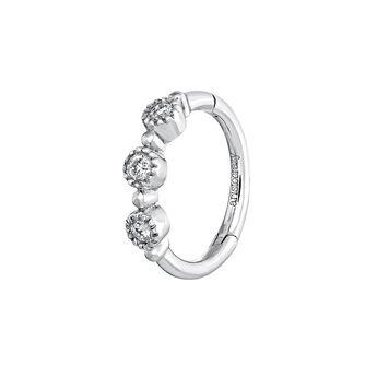 Pendiente aro tres diamantes oro blanco 0,042 ct, J03914-01-H, hi-res
