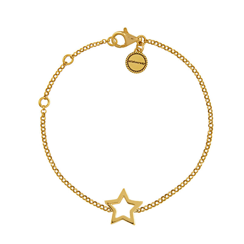 Gold plated hollow star bracelet, J01373-02, hi-res
