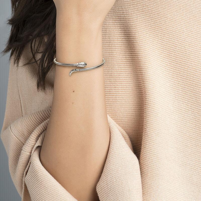 Thin silver tubogas snake bracelet, J04290-01, hi-res