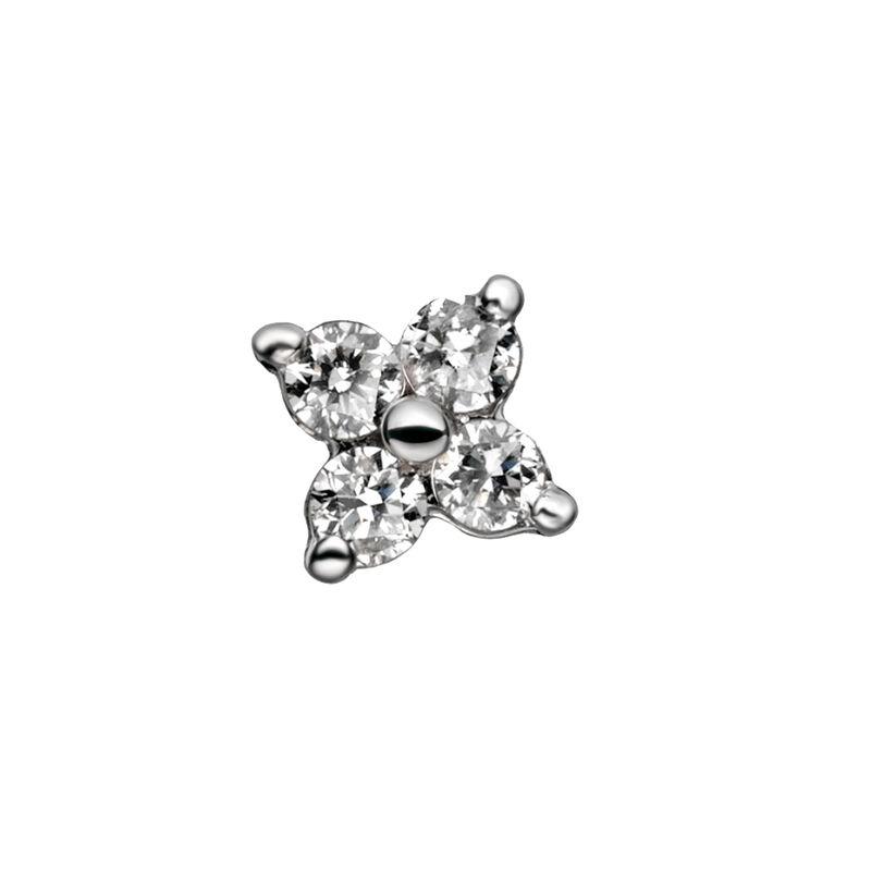 Pendiente trébol diamantes 0,065 ct oro blanco, J00791-01-NEW-H, hi-res