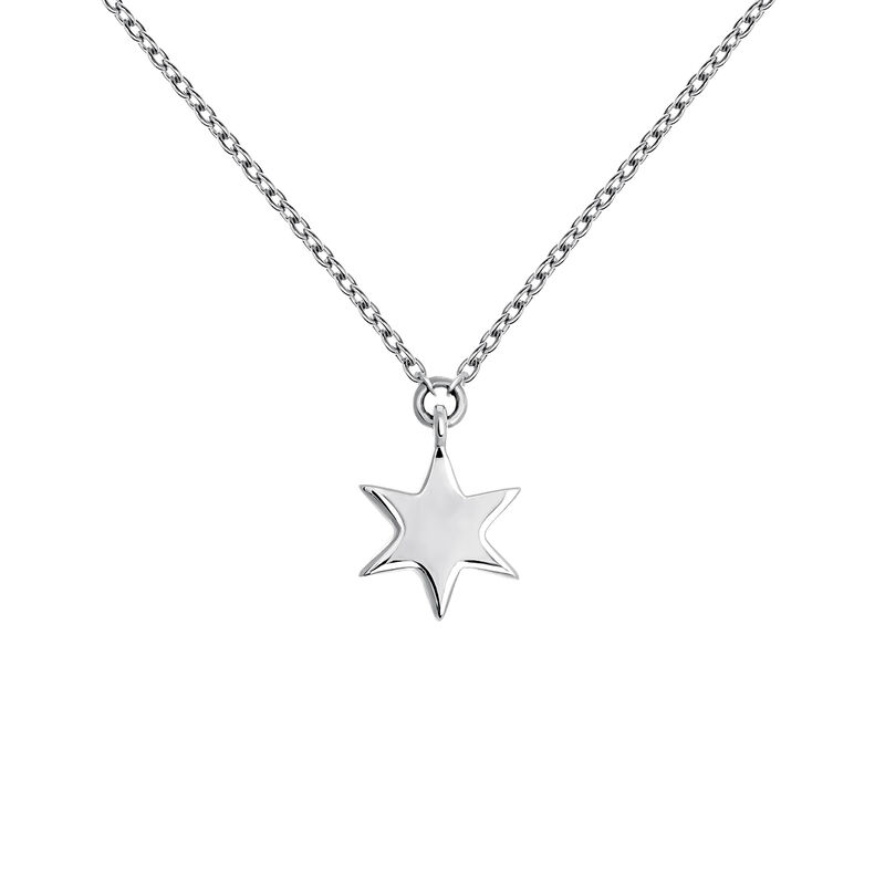 Collier étoile or blanc, J03863-01, hi-res