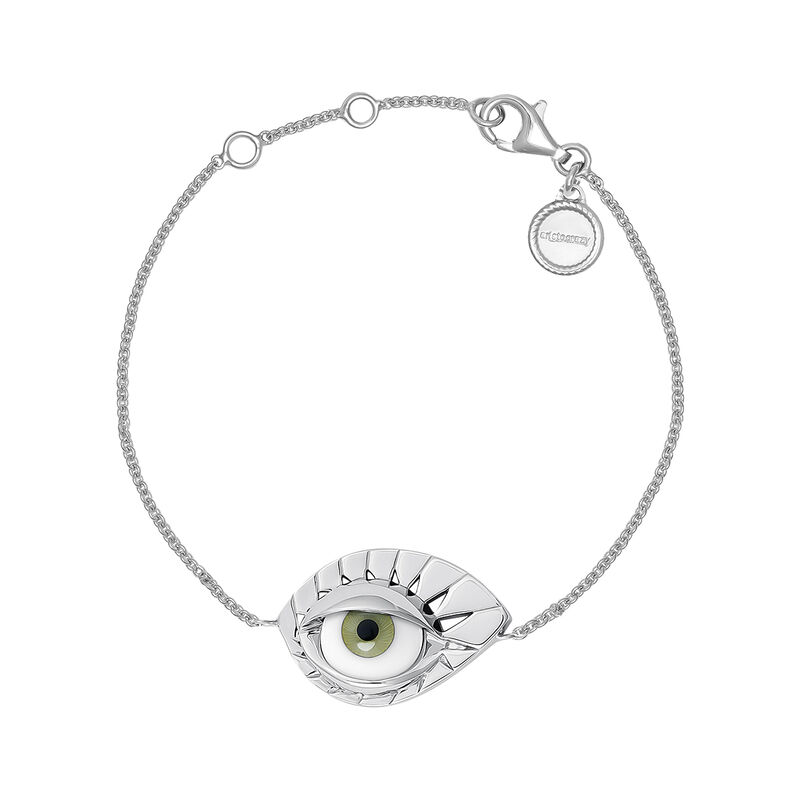 Silver green eye bracelet, J04402-01-GE, hi-res