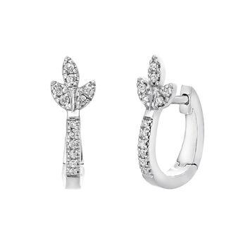 Silver diamond leaf hoop earrings, J03711-01-GD, hi-res
