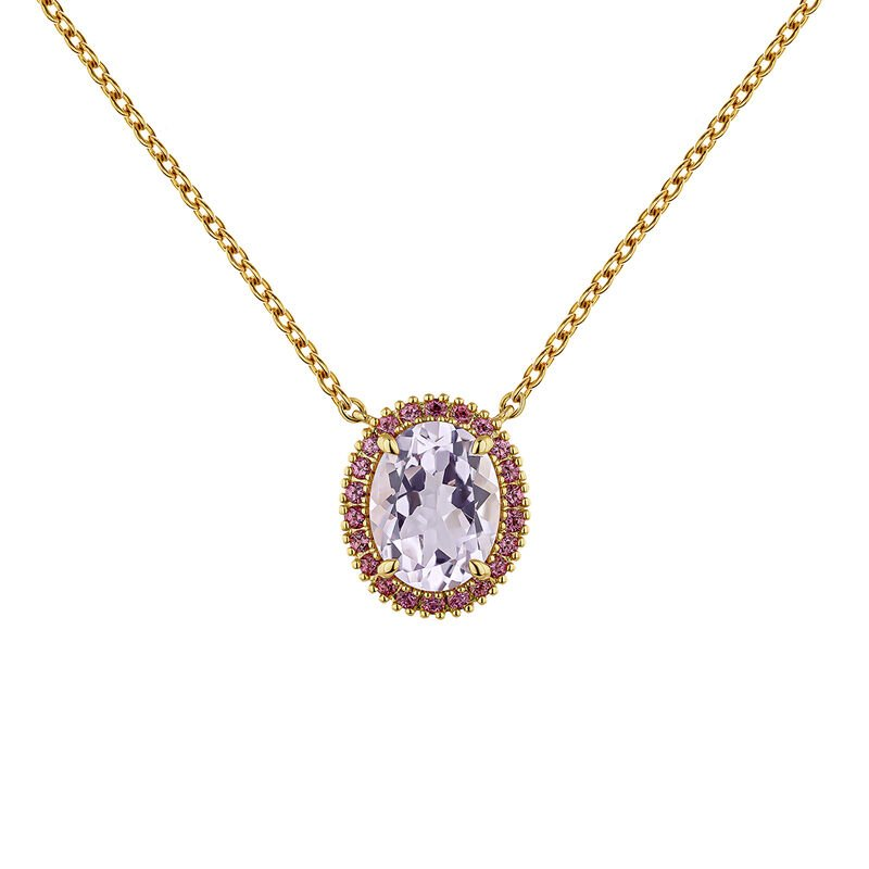 Gold plated amethyst necklace, J04686-02-PAM-RO, hi-res
