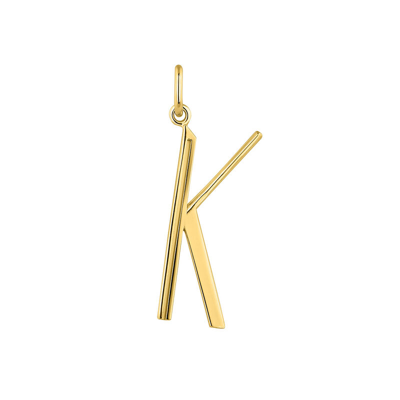 Large gold plated initial K , J04642-02-K, hi-res