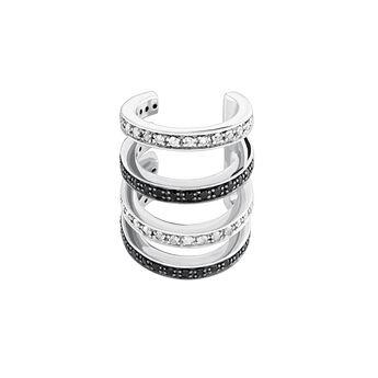 Boucle d'oreille piercing créoles cartilage pierres argent, J04028-01-WT-BSN, hi-res