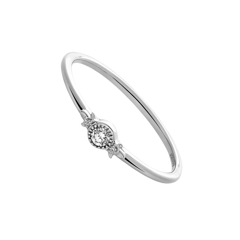 White gold three diamonds ring 0.053 ct, J03391-01, hi-res