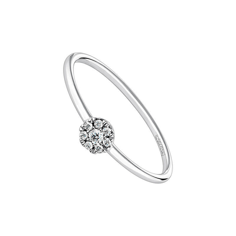 Anillo solitario roseta diamantes 0,06 ct oro blanco, J04205-01-06, hi-res