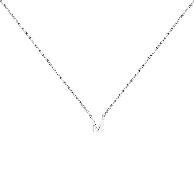 Collar inicial M oro blanco9 kt, J04382-01-M, hi-res