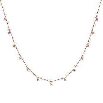Collier motif saphir multicolore et tsavorite en or rose, J04341-03-MULTI, hi-res