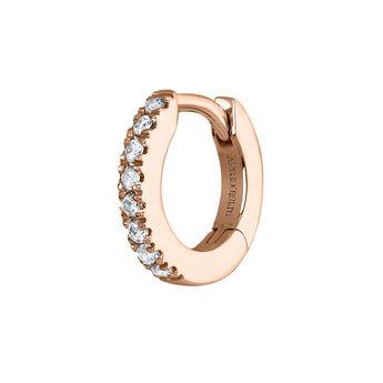 Mini pendiente aro diamantes oro rosa 0,03 ct, J04152-03-H, hi-res