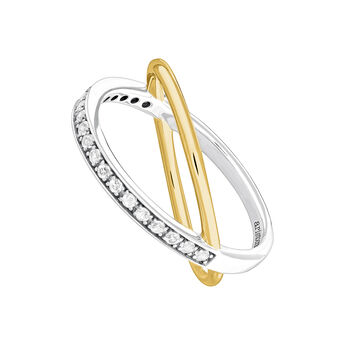 Bicolor smooth and pave ring, J04032-09-WT, hi-res