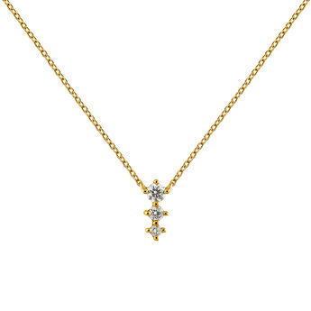 Colgante triple diamantes 0,06 ct oro, J03365-02, hi-res