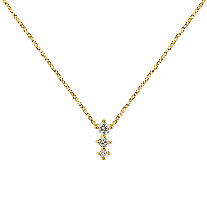 Gold diamonds triple necklace 0.06 ct, J03365-02, hi-res