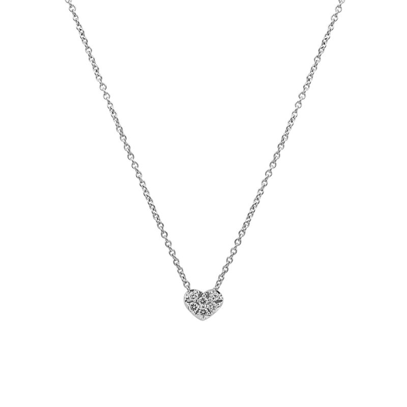 White gold mini heart necklace 0.05 ct, J01635-01, hi-res