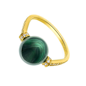 Gold Malachite Ring, J03513-02-WT-MA, hi-res
