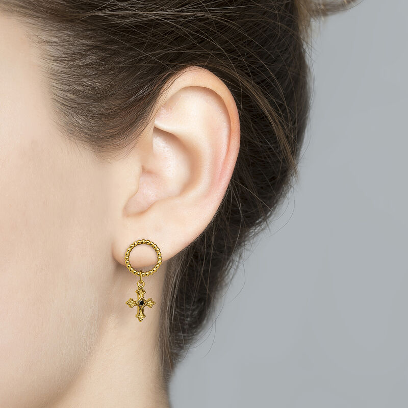 Gold plated small-size cross hoop earrings with spinels, J04227-02-BSN, hi-res
