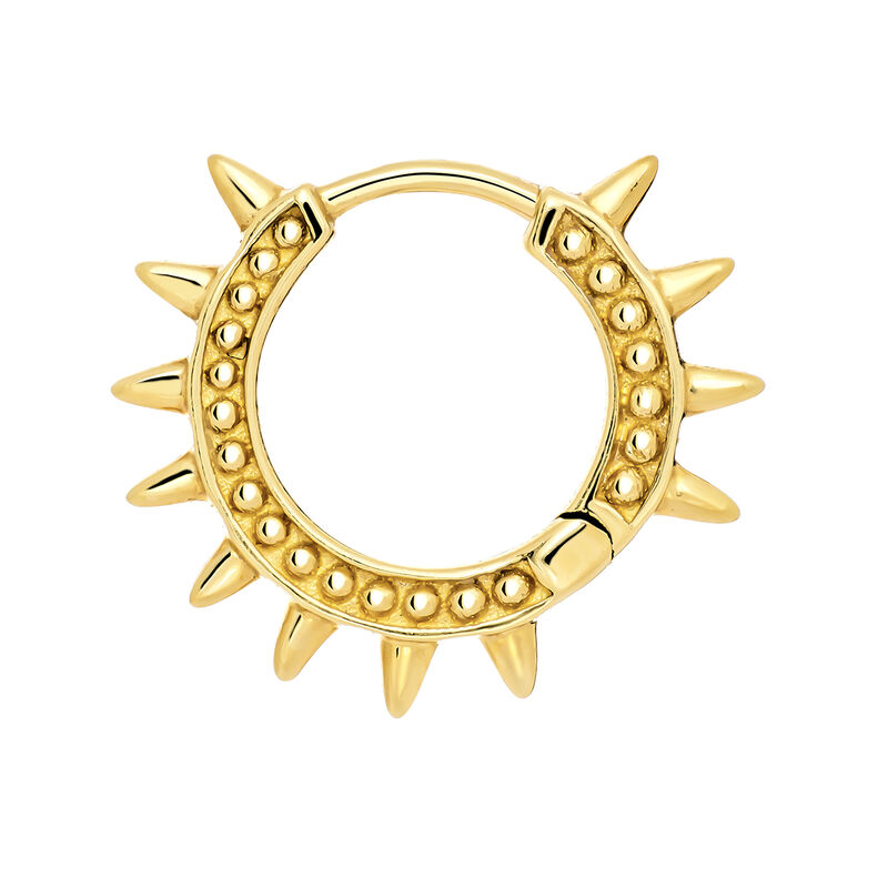 Gold hoop earring piercing with spikes, J03846-02-H, hi-res