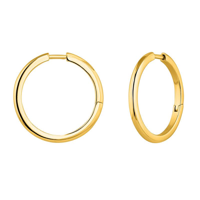 Boucles d'oreilles créoles combinables argent plaqué or, J04643-02, hi-res