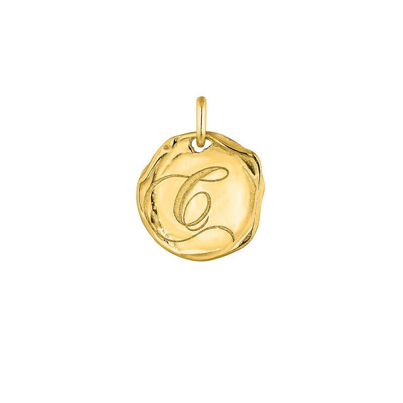 Pendentif médaille initiale C en argent plaqué or, J04641-02-C, hi-res