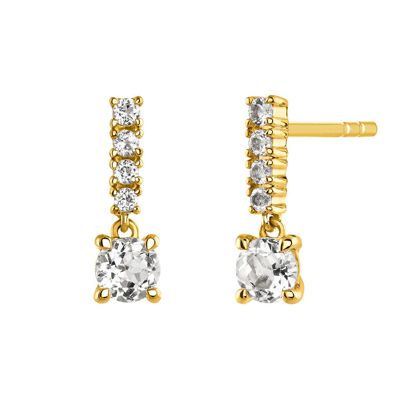 Long gold plated earrings with stones, J03832-02-WT, hi-res