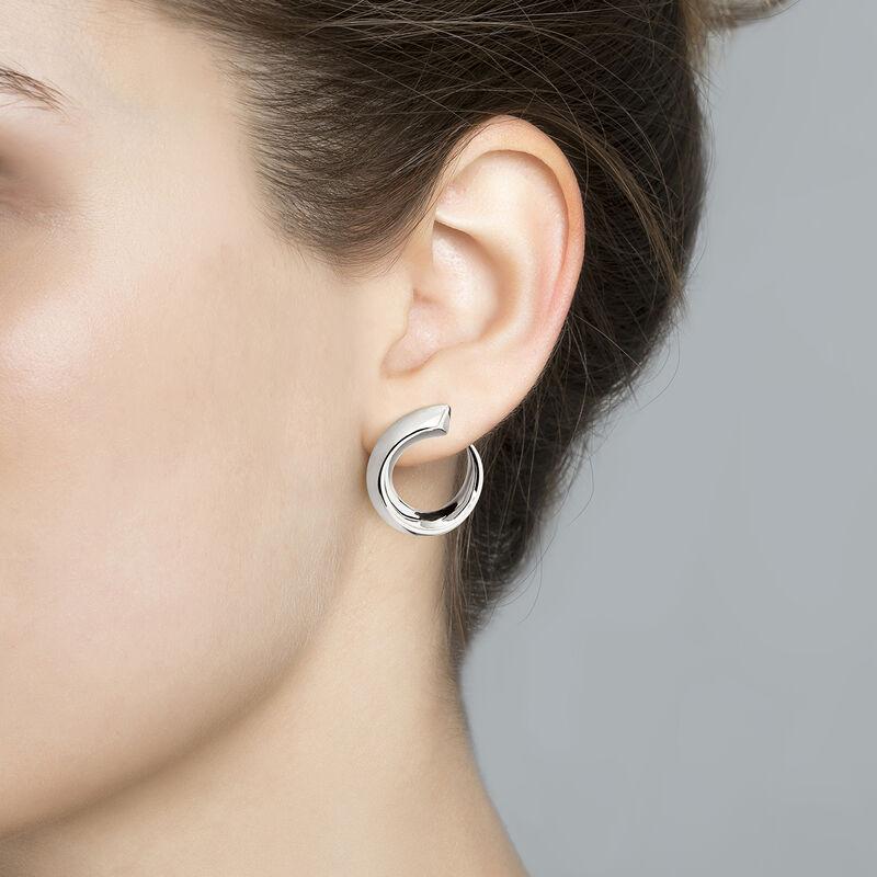Small silver tapered open hoop earrings, J04254-01, hi-res