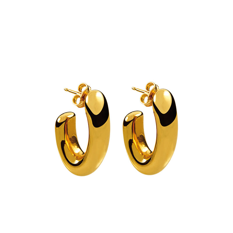 Gold small oval earrings, J00799-02, hi-res