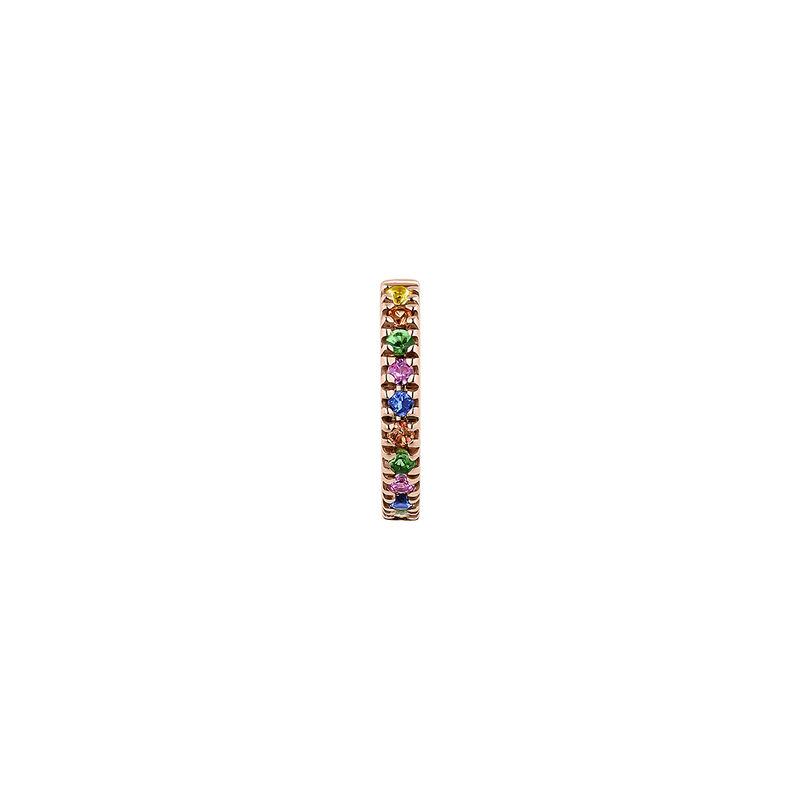 Gold multicolor sapphires and tsavorite hoop earring, J04334-03-MULTI-H, hi-res