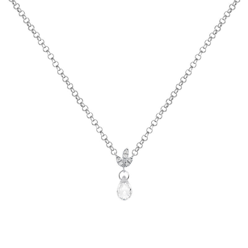 Silver diamond and topaz pendant, J03718-01-WT-GD, hi-res