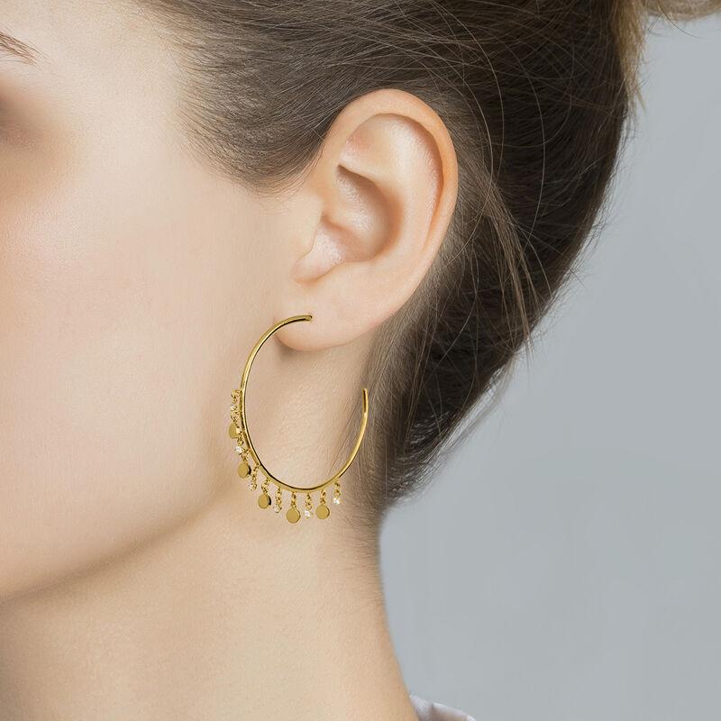 Hoop earrings pattern pendants yellow gold, J04256-02-WT, hi-res