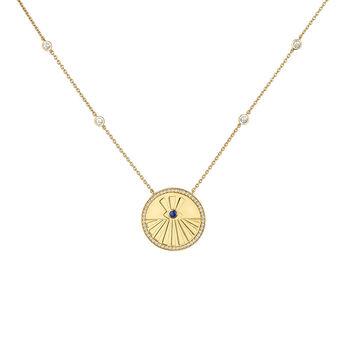 Collier médaille avec chatons or, J04140-02-WT-LPS, hi-res