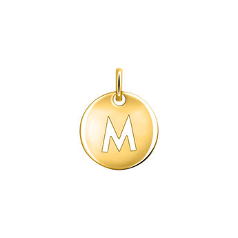 Gold plated initial M medal necklace, J03455-02-M, hi-res