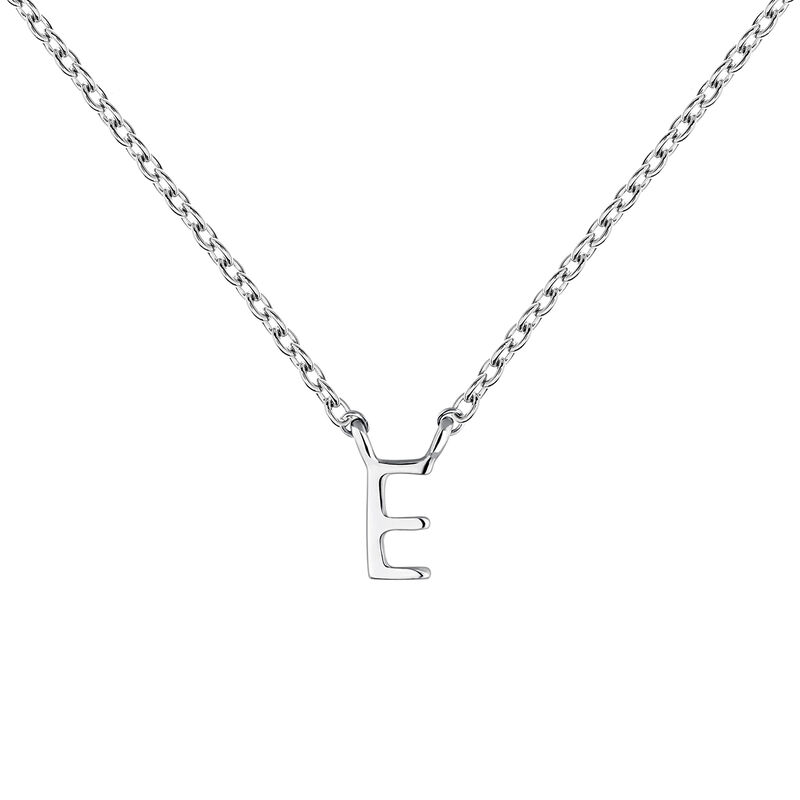 White gold Initial E necklace, J04382-01-E, hi-res