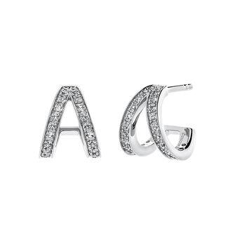 Boucles d'oreilles double anneau argent, J03487-01-WT, hi-res