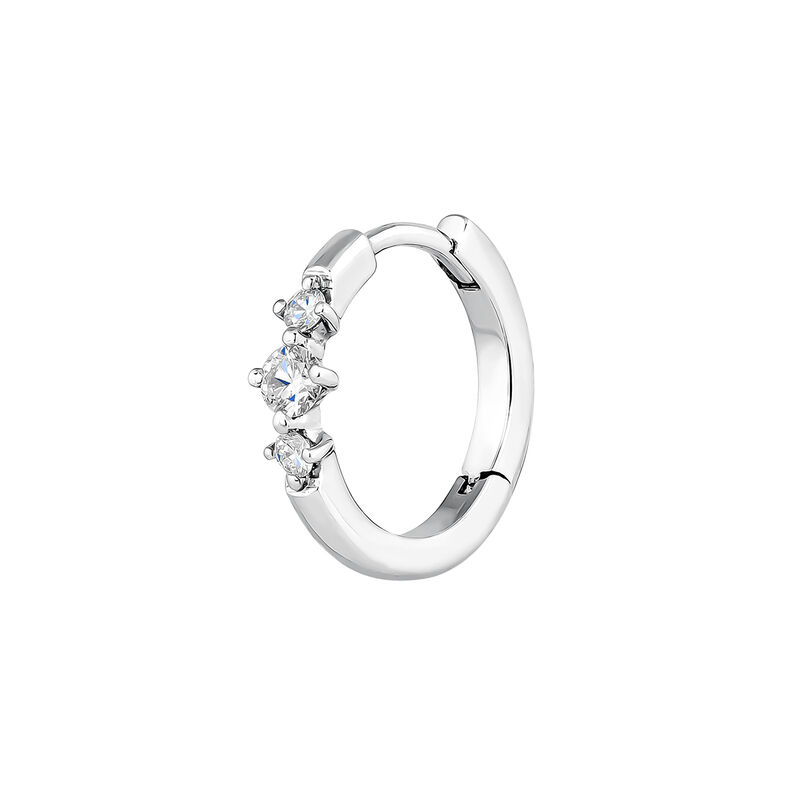 Pendiente aro tres diamantes oro blanco 0,041 ct, J03929-01-H, hi-res