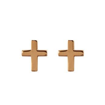 Pendientes cruz plata recubierta oro rosa, J00865-03, hi-res