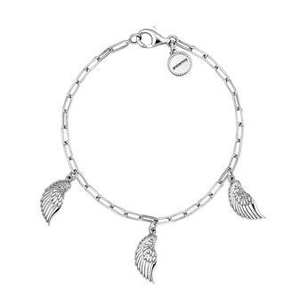 Silver wings charm bracelet, J04303-01, hi-res