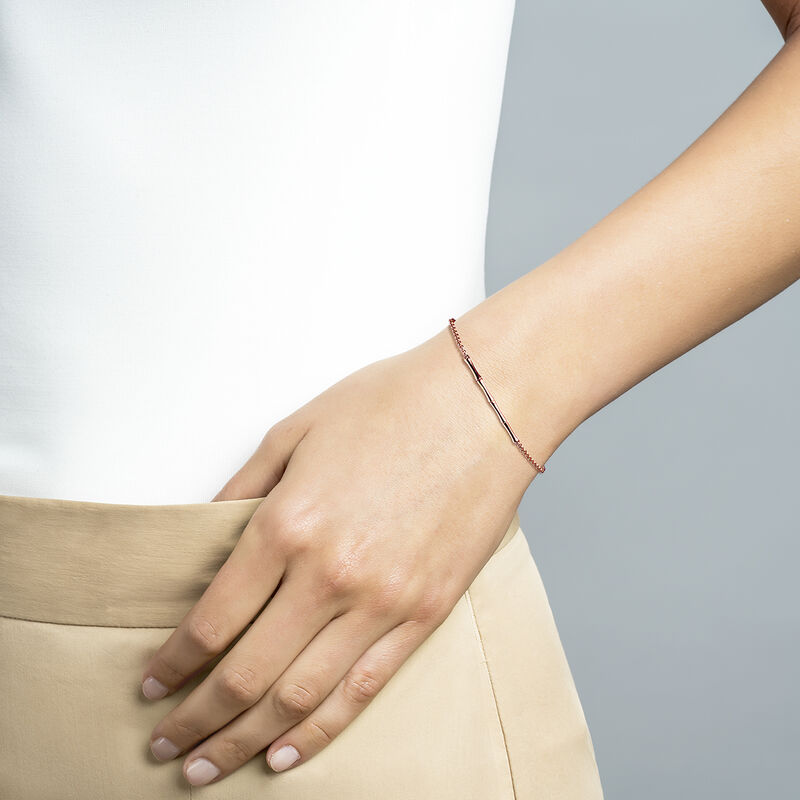 Rose gold plated bamboo bracelet, J03043-03, hi-res