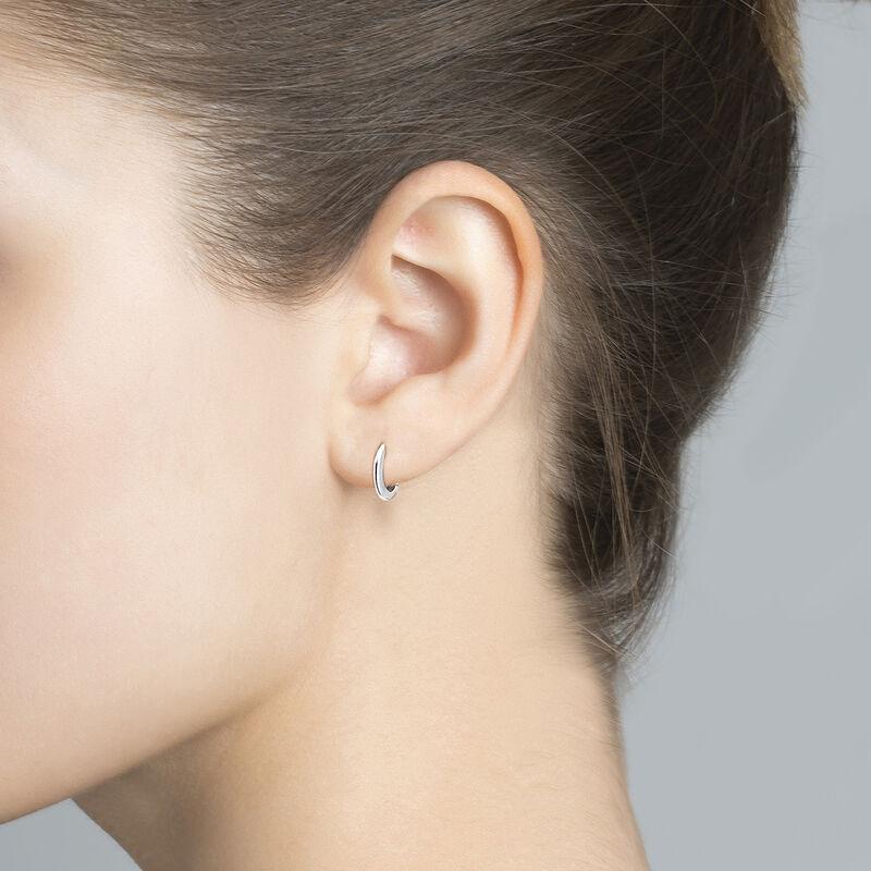 Petites boucles d'oreilles créoles argent, J04648-01, hi-res
