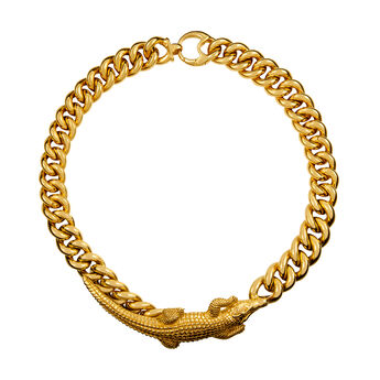 Collier crocodile or, J01502-02, hi-res