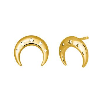 Pendientes stud luna oro amarillo, J03464-02, hi-res