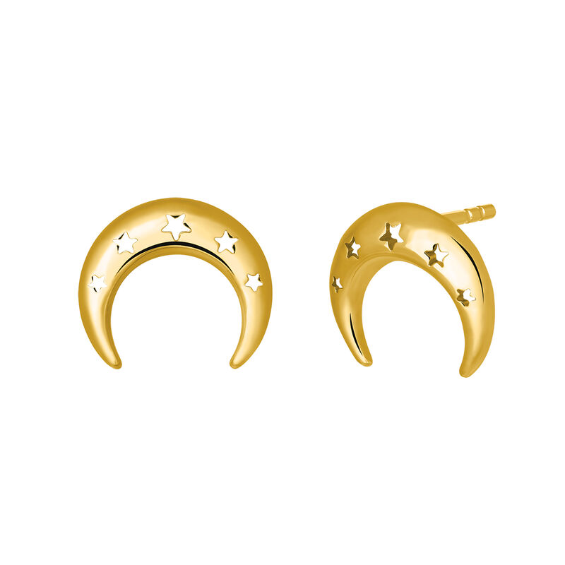 Yellow gold moon stud earrings, J03464-02, hi-res