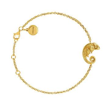 Pulsera motivo camaleón plata recubierta oro, J03870-02, hi-res
