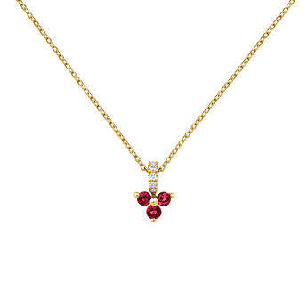 Necklace clover ruby and diamond gold, J04080-02-RU, hi-res