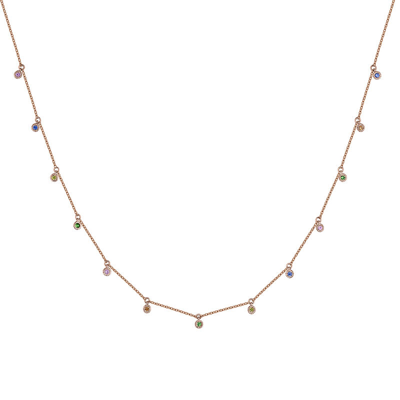Rose gold multicolor sapphire and tsavorite motif necklace