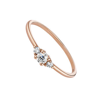 Pink gold three diamonds ring, J04436-03, hi-res