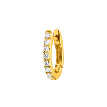 Gold diamonds mini hoop earring 0.08 ct, J00597-02-NEW-H, hi-res